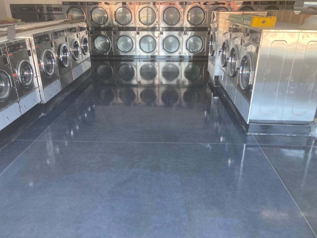 polished concrete flooring in laundramat
