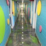 commercial hall with metallic epoxy
